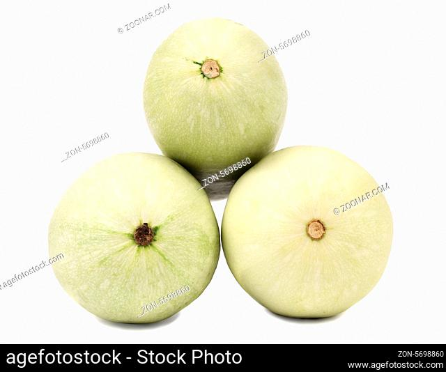 Tails of fresh vegetable marrow. Isolated on a white background