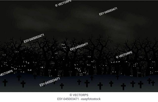Seamless halloween poster background. Foggy landscape of graveyard with scary bats eyes in dark forest. Vector illustration