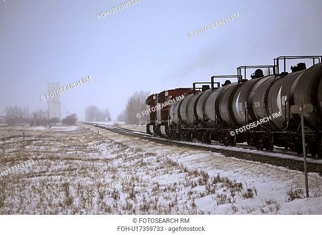 winter, approaching, canada, saskatchewan, milestone, train