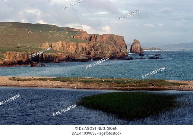Cliff of Esha Ness peninsula, Shetland Islands, Scotland, United Kingdom