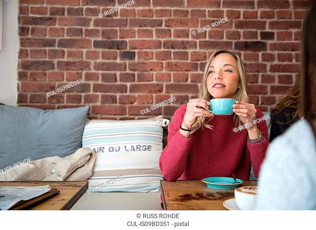 Two female friends sitting in cafe, drinking coffee