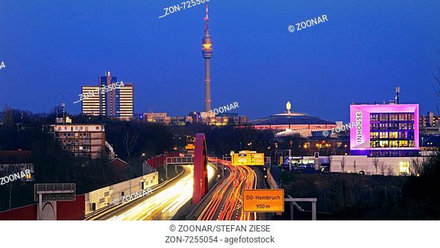 A40 motorway with Florian tower, Dortmund
