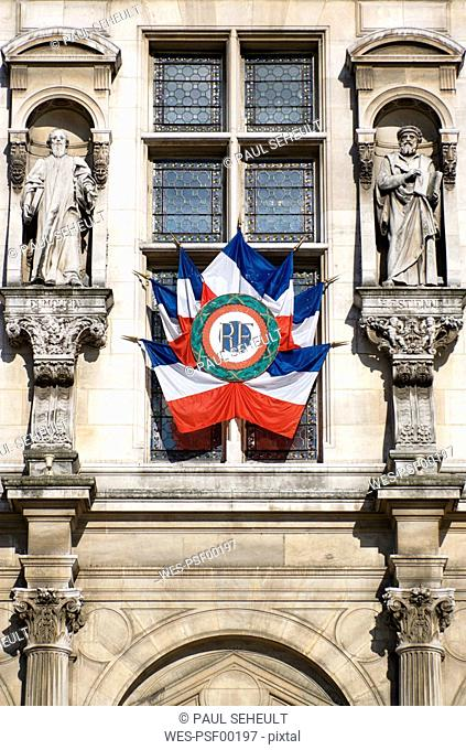 France, Paris, Town Hall, Facade with National Ensigns