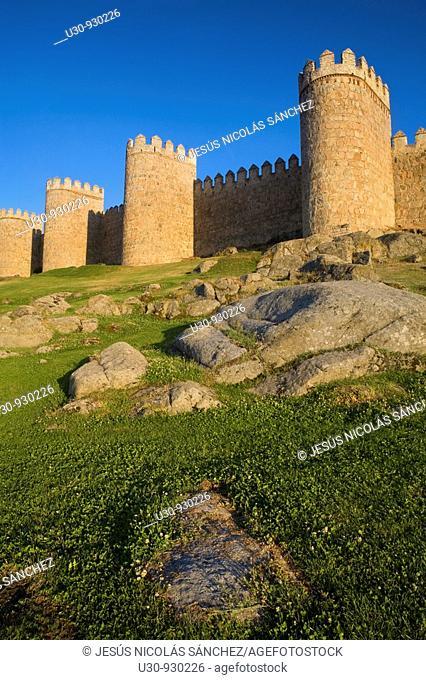 Walls of Avila city, World Heritage City in Castilla y León, Spain
