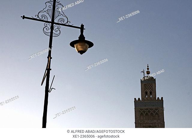 Streetlight, Koutoubia Mosque, Marrakech, Morocco
