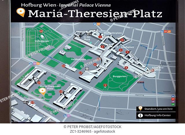 Information board of the square Maria-Theresien-Platz at the Imperial Palace in Vienna - Austria