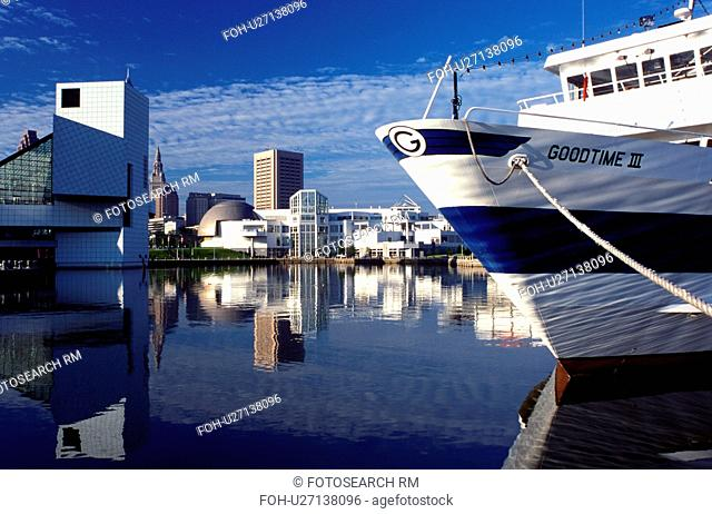 Cleveland, skyline, hall of fame, OH, Ohio, Skyline of downtown Cleveland, Rock and Roll Hall of Fame and Museum, and Goodtime Cruise Lines along the waterfront...