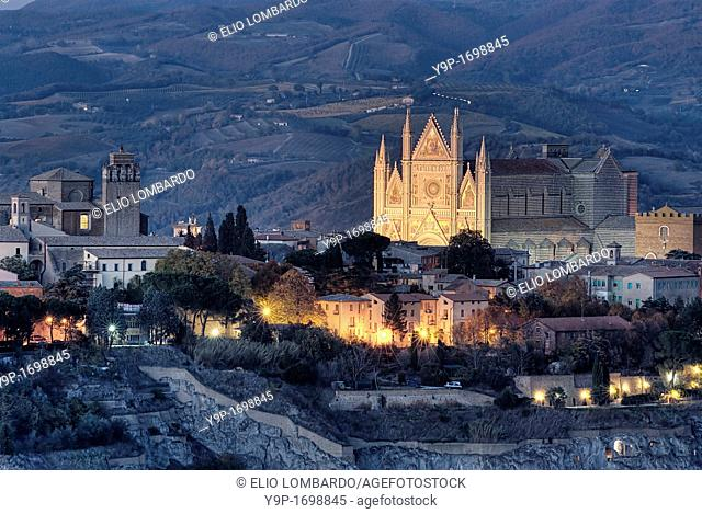View of Orvieto at the dusk  Orvieto  Terni Province  Umbria  Italy
