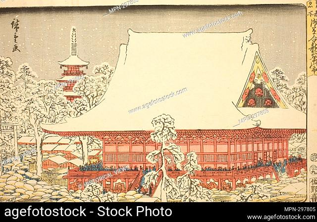 Author: Utagawa Hiroshige. The Year-end Fair at Kinryuzan Temple in Asakusa (Asakusa Kinryuzan toshi no ichi), from the series  -  - Famous Places in the...