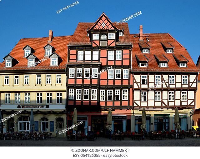 The historical City of Quedlinburg in the Harz Mountains, Saxony - Anhalt. Germany. Die historische Stadt Quedlinburg im Harz, Sachsen - Anhalt, Deutschland
