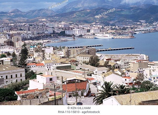 View over port of of the Spanish enclave of Ceuta, Spain, Spanish North Africa, Africa