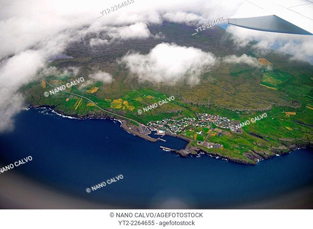 Aerial view of Faroe Islands from airplane
