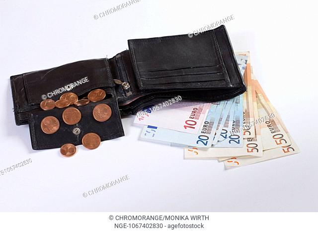 Purse with Euro Cent coins and Euro notes