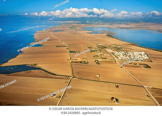Aerial view of Poblenou del Delta and Llacuna de l'Encanyissada in the Ebro Delta. Catalonia, Spain