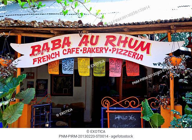 Sign board of a restaurant, Baba au Rhum Restaurant, Opposite Uttam Resorts, Near Club Cubana, Arpora, Bardez, North Goa, Goa, India