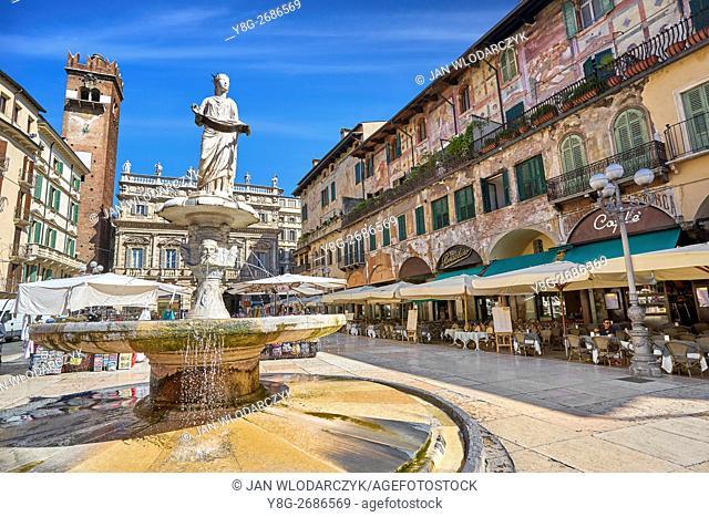 Piazza delle Erbe, Verona old town, Veneto region, Italy