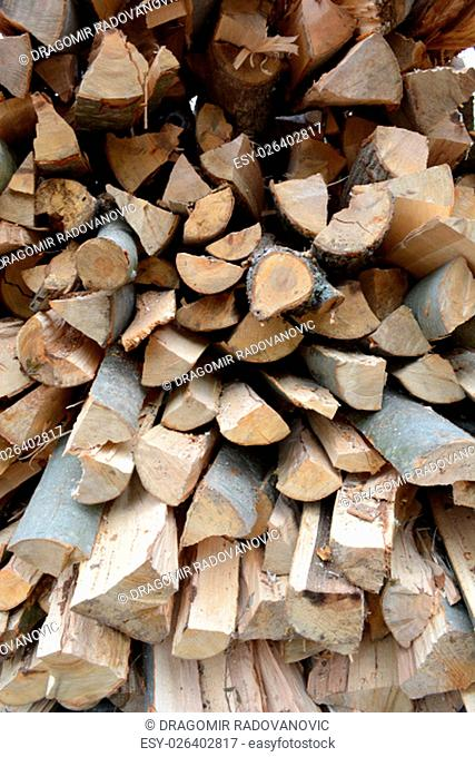 Closeup of beech logs who will be used as a firewood