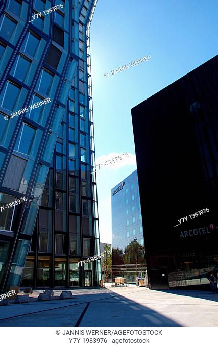 Recently constructed Tanzende Türme and Arcotel buildings at the famous Reeperbahn in Hamburg, Germany