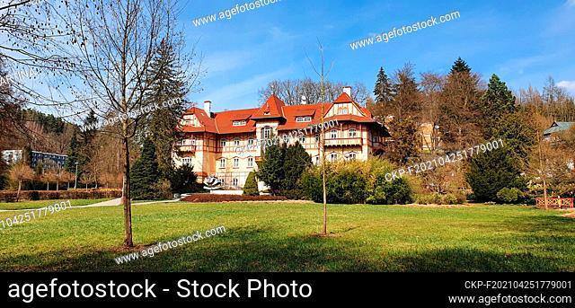 Jestrabi Spa House, now hotel Garni, build in 1903-4, designed by the architect Dusan Jurkovic, Luhacovice, Zlin Region, Czech Republic, April 5, 2021