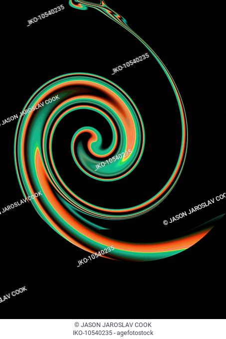 Abstract green and orange spiral pattern