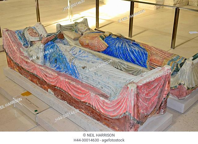 The tombs of King Henry II of England and his Queen Eleanor of Aquitaine at Fontevraux Abbey