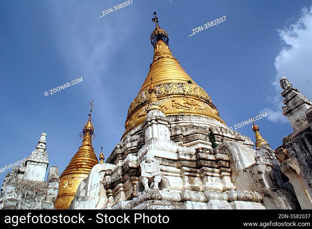Golden stupa in Maha Aungmye Bonzan monastery in Inwa, Mandalay, Myanmar