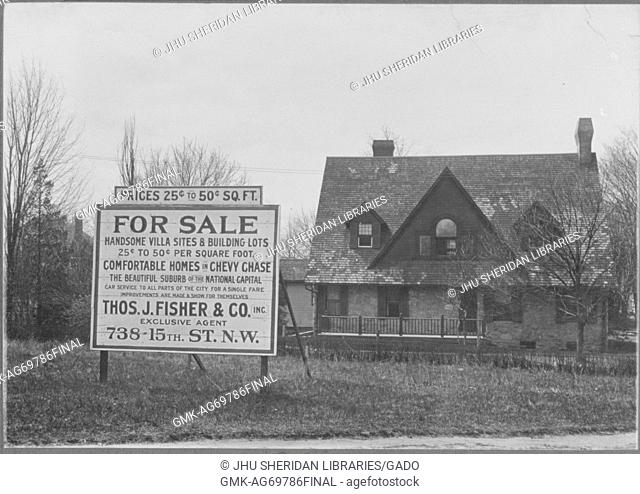 """""""""""""""For Sale"""""""" sign in front of a two story house with porch, chimney, and tree in front of house; Roland Park/Guilford, 1910"""