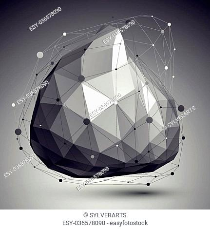 Abstract deformed vector monochrome object with lines mesh over dark background