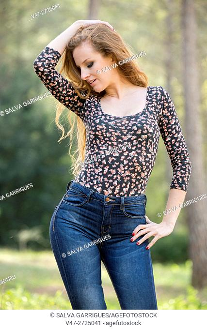 Woman posing with feminine curves, Alboy, Genoves, Valencia, Spain, Europe