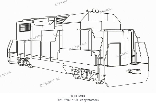 Vector illustration of a train. Outline. EPS 8. Perspective