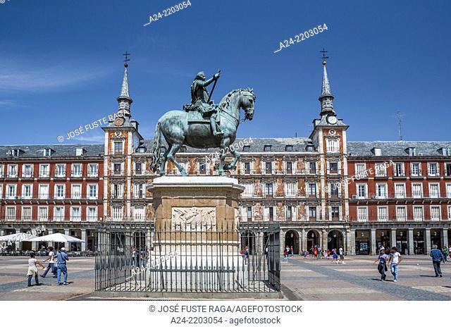 Spain ,Madrid City, Mayor Square, Philip III Monument