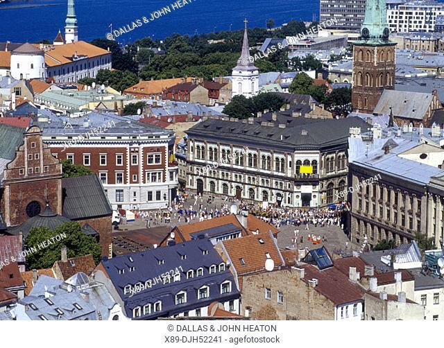 Skyline, Old Town Square, Old Town, Daugava River, Riga, Latvia