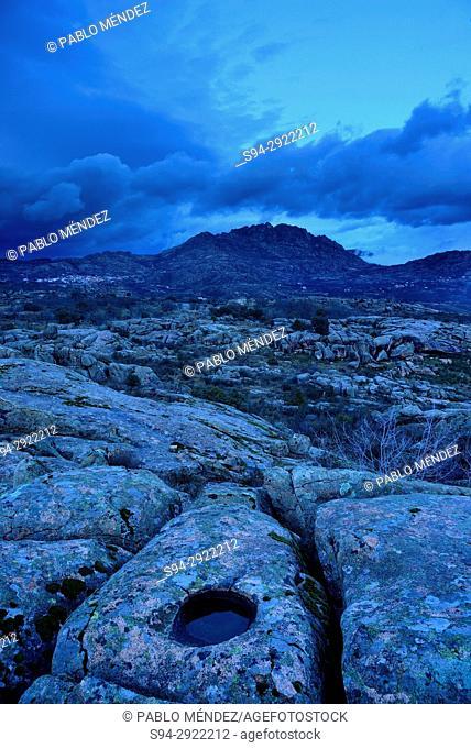 View of La Cabrera mountain range from Bustarviejo, Madrid, Spain