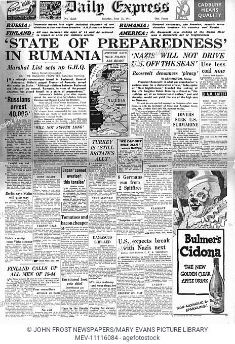 1941 front page Daily Express Romania on high alert over relations with Russia