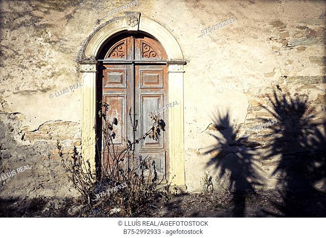 Old typical village facade . Santo-Pietro-di-Tenda, Corsica, France