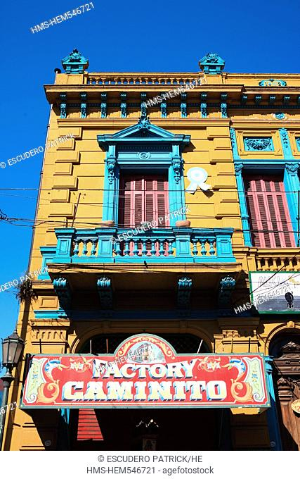 Argentina, Buenos Aires, La Boca district, facade and sign on Ibertucea street near Caminito street