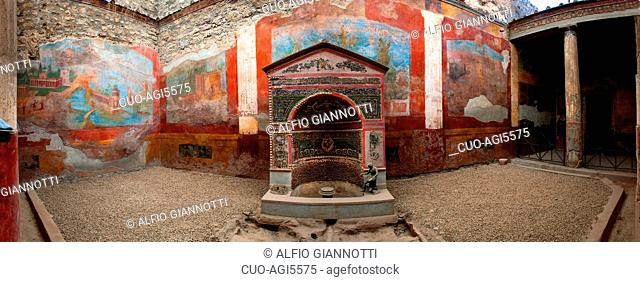 House of the Great Fountain, Archaeological site of Pompei,UNESCO World Heritage Site, Campania, Italy, Europe