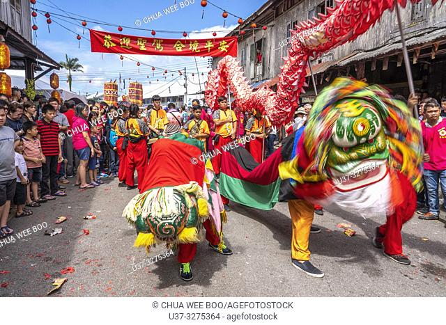 Lion dance during Chinese New Year Festival Capgomeh year 2019 15th day of the 1st month at Siniawan, Sarawak, Malaysia