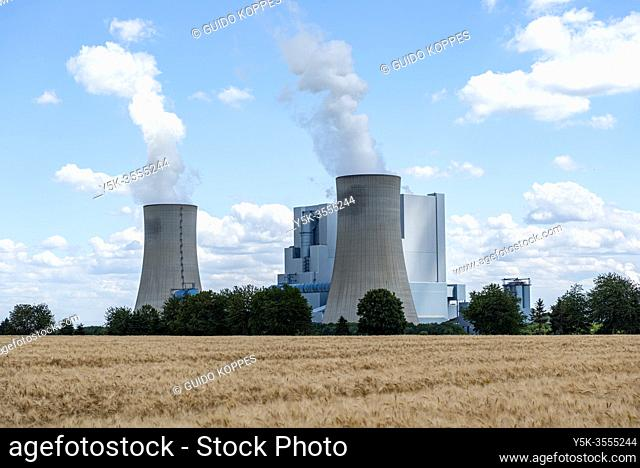 Grevenbroich-Neurath, Germany. The two brauncoal fuelled Kraftwerk Neurath Electrical Powerplant. The oldest one is Decommissioned and Idle after replacement by...