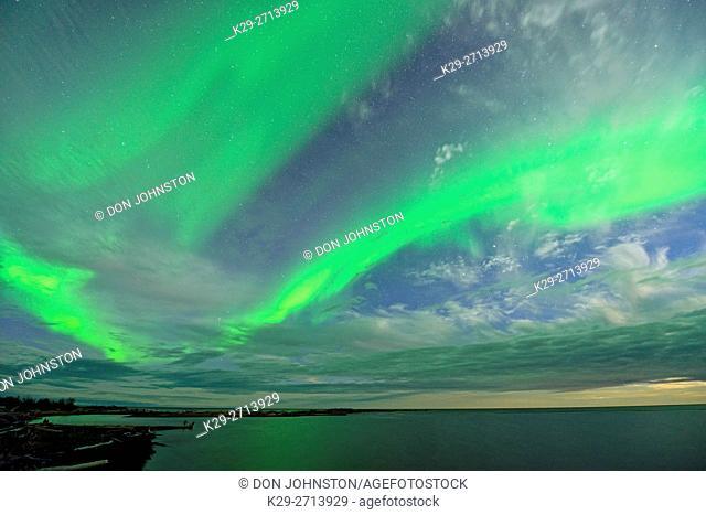Aurora borealis (Northern Lights) over Great Slave Lake , Hay River, Northwest Territories, Canada