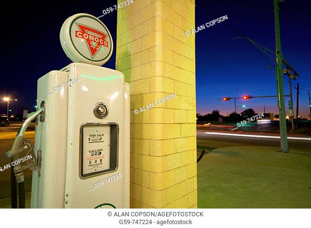 USA Texas Route 66 Shamrock  Old Art Deco Tower Conoco Gas Station and U-Drop Inn Diner building