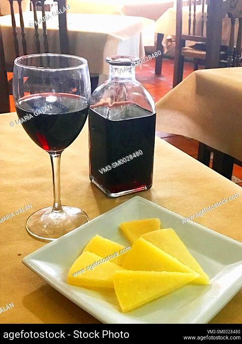 Cheese and red wine. Spain
