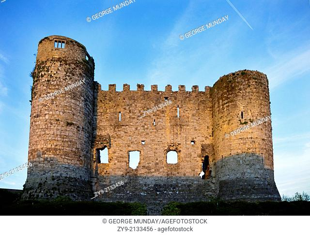 Remaining Wall and Towers of 13th Century Carlow Castle, Carlow Town, Ireland
