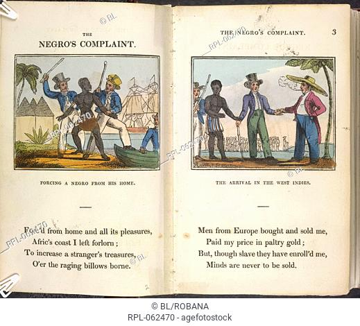 Forcing a Negro From His Home. The arrival in the West Indies. Image taken from The Negro's Complaint: a poem. To which is added Pity for Poor Africans