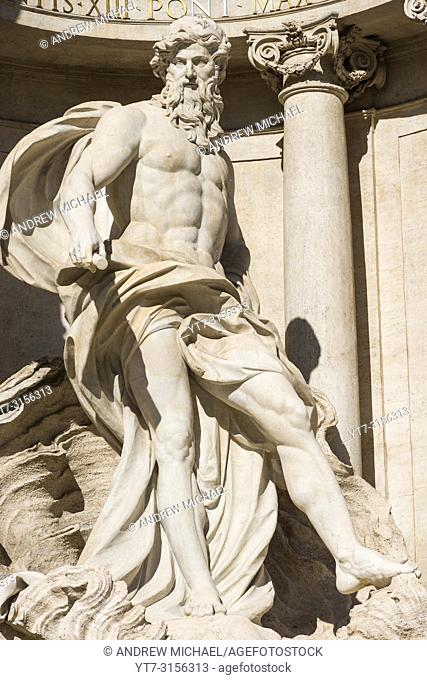 Marble statues on the Trevi Fountain (Fontana di Trevi), Rome, Lazio, Italy