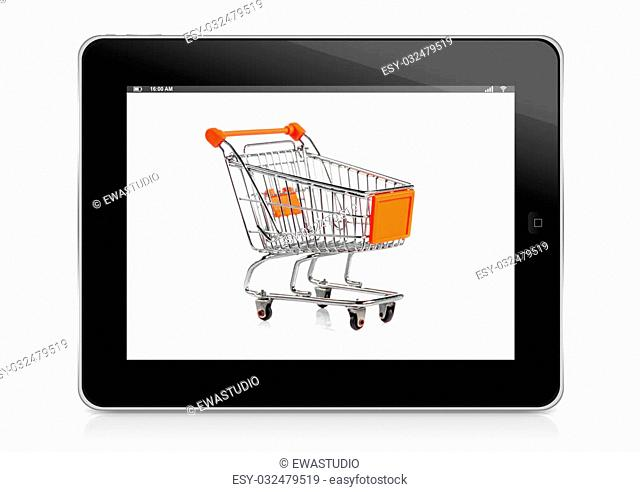 commerce concept. Shopping Online. internet shopping concept. Shopping cart and tablet