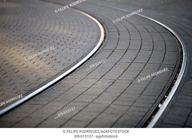 Tram tracks on Alexanderplatz, Berlin, Germany