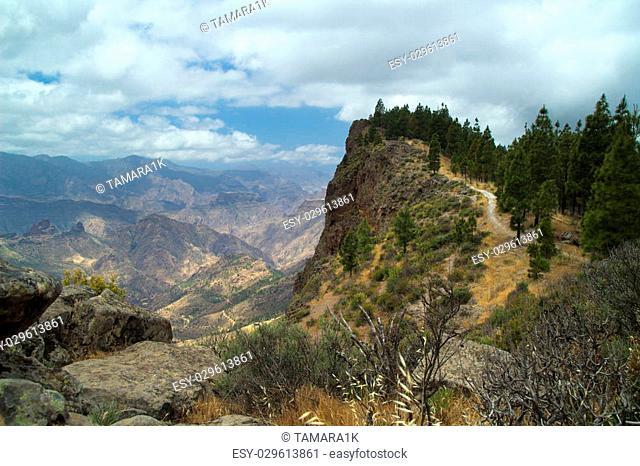 Gran Canaria, Caldera de Tejeda in May as seen from Artenara village
