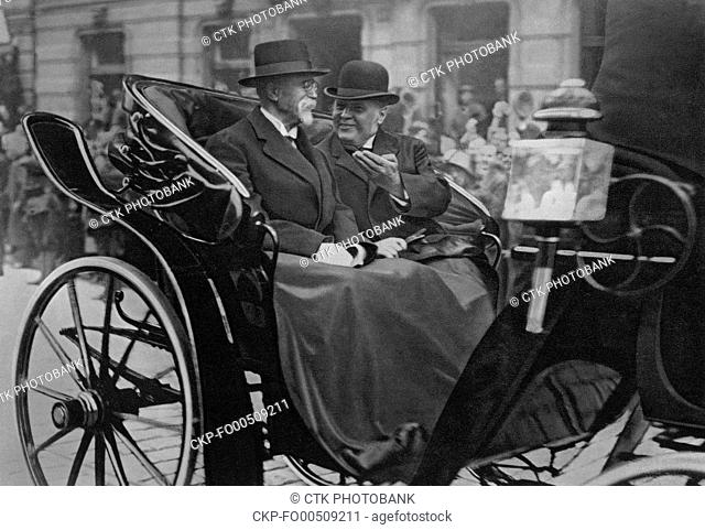 President of Czechoslovakia Tomas Garrigue Masaryk, left, and Prime Minister of Czechoslovakia Antonin Svehla sit in the carriage after the third Presidential...