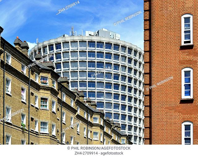 London, England, UK. One Kemble Street (WC2B 4AN) or 'Space House' (arch: R Seifert & Partners; 1966) seen from Drury Lane